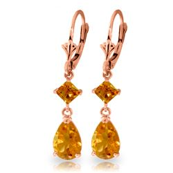 Genuine 4.5 ctw Citrine Earrings Jewelry 14KT Rose Gold - REF-41V4W