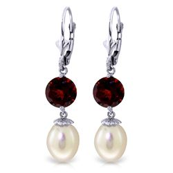 Genuine 11.10 ctw Pearl & Garnet Earrings Jewelry 14KT White Gold - REF-26T6A
