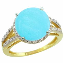 Natural 5.34 ctw Turquoise & Diamond Engagement Ring 10K Yellow Gold - REF-50K2R