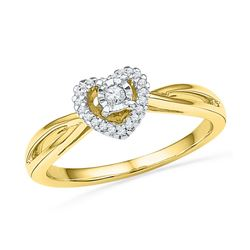 0.13 CTW Diamond Heart Love Solitaire Ring 10KT Yellow Gold - REF-19N4F