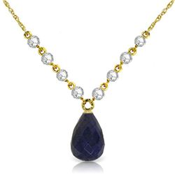 Genuine 15.6 ctw Sapphire & Diamond Necklace Jewelry 14KT Yellow Gold - REF-139K8V