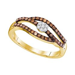0.35 CTW Cognac-brown Color Diamond Strand Cluster Ring 10KT Yellow Gold - REF-20X9Y