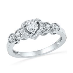 0.21 CTW Diamond Heart Love Ring 10KT White Gold - REF-22Y4X