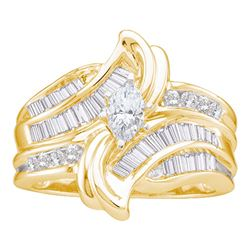 1 CTW Marquise Diamond Solitaire Bridal Engagement Ring 14KT Yellow Gold - REF-149X9Y