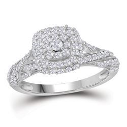 0.80 CTW Diamond Solitaire Halo Bridal Engagement Ring 10KT White Gold - REF-41W9K