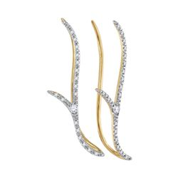 0.20 CTW Diamond Climber Earrings 10KT Yellow Gold - REF-26F9N