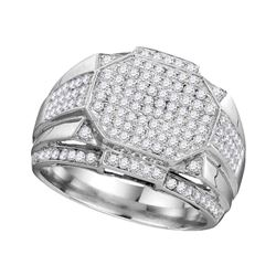 1.51 CTW Mens Diamond Polygon Octagon Cluster Ring 10KT White Gold - REF-112N5F