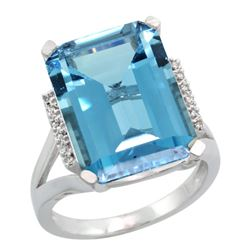 Natural 12.13 ctw London-blue-topaz & Diamond Engagement Ring 14K White Gold - REF-75H3W