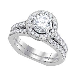 2 CTW Diamond Bridal Wedding Engagement Ring 18KT White Gold - REF-764K9W