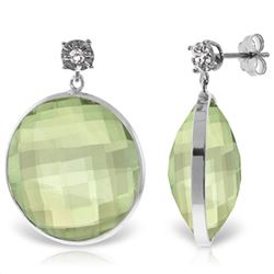 Genuine 36.06 ctw Green Amethyst & Diamond Earrings Jewelry 14KT White Gold - REF-87W5Y