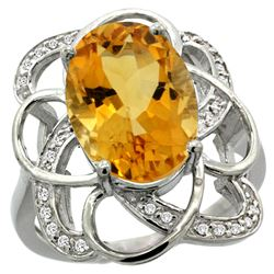 Natural 5.59 ctw citrine & Diamond Engagement Ring 14K White Gold - REF-59R6Z