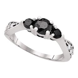 1 CTW Black Color Diamond 3-stone Bridal Ring 10KT White Gold - REF-37X5Y