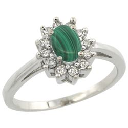 Natural 0.67 ctw Malachite & Diamond Engagement Ring 14K White Gold - REF-47V7F