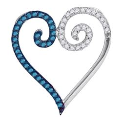 0.25 CTW Blue Color Diamond Heart Love Pendant 10KT White Gold - REF-12N8F