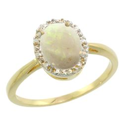 Natural 0.75 ctw Opal & Diamond Engagement Ring 10K Yellow Gold - REF-20Z2Y