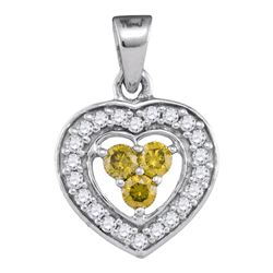 0.33 CTW Yellow Color Diamond Heart Pendant 10KT White Gold - REF-19W4K