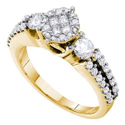 0.98 CTW Princess Diamond Soleil Cluster Bridal Engagement Ring 14KT Yellow Gold - REF-109W4K
