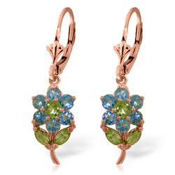 Genuine 2.12 ctw Blue Topaz & Peridot Earrings Jewelry 14KT Rose Gold - REF-42N4R