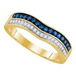 0.25 CTW Blue Color Diamond Ring 14KT Yellow Gold - REF-34F4N