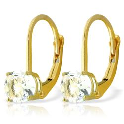 Genuine 1.20 ctw Aquamarine Earrings Jewelry 14KT Yellow Gold - REF-27M4T