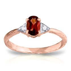 Genuine 0.46 ctw Garnet & Diamond Ring Jewelry 14KT Rose Gold - REF-22P5H