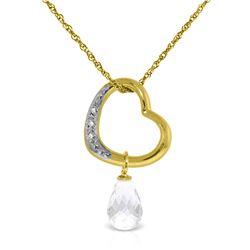 Genuine 2.28 ctw White Topaz & Diamond Necklace Jewelry 14KT Yellow Gold - REF-40R7P