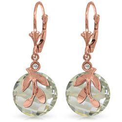 Genuine 10.63 ctw Green Amethyst & Diamond Earrings Jewelry 14KT Rose Gold - REF-44Z7N