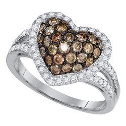 1.38 CTW Cognac-brown Color Diamond Heart Love Cluster Ring 10KT White Gold - REF-79W4K