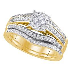 0.63 CTW Princess Diamond Soleil Bridal Engagement Ring 14KT Yellow Gold - REF-104N9F