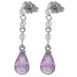 Genuine 3.3 ctw Amethyst & Diamond Earrings Jewelry 14KT White Gold - REF-42T9A