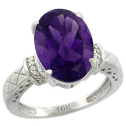 Natural 5.53 ctw Amethyst & Diamond Engagement Ring 14K White Gold - REF-60X3A