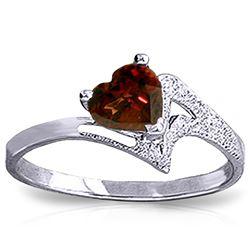 Genuine 0.90 ctw Garnet Ring Jewelry 14KT White Gold - REF-36P3H
