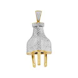 1.15 CTW Mens Diamond Power Plug Charm Pendant 10KT Yellow Gold - REF-112F5N