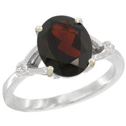 Natural 2.41 ctw Garnet & Diamond Engagement Ring 14K White Gold - REF-37N3G