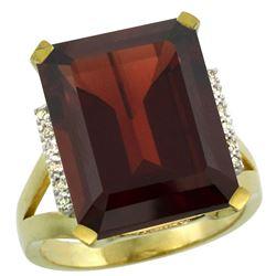 Natural 12.13 ctw Garnet & Diamond Engagement Ring 10K Yellow Gold - REF-70H7W