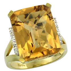 Natural 12.13 ctw Whisky-quartz & Diamond Engagement Ring 10K Yellow Gold - REF-52V2F