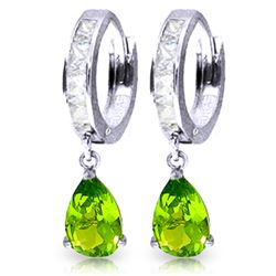 Genuine 3.9 ctw White Topaz & Peridot Earrings Jewelry 14KT White Gold - REF-50M6T