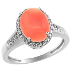 Natural 2.49 ctw Coral & Diamond Engagement Ring 14K White Gold - REF-39Z9Y