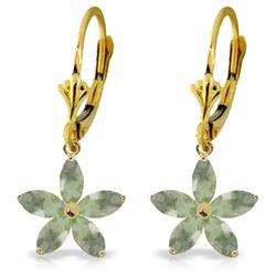 Genuine 2.8 ctw Green Amethyst Earrings Jewelry 14KT Yellow Gold - REF-46R7P