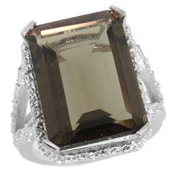 Natural 13.72 ctw Smoky-topaz & Diamond Engagement Ring 10K White Gold - REF-65A2V
