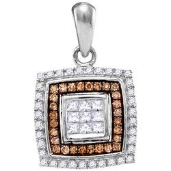 0.33 CTW Cognac-brown Color Diamond Square Pendant 10KT White Gold - REF-26H9M