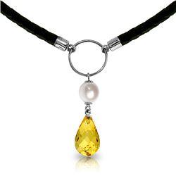 Genuine 7.5 ctw Citrine & Pearl Necklace Jewelry 14KT White Gold - REF-52Y9F