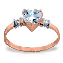 Genuine 0.98 ctw Aquamarine & Diamond Ring Jewelry 14KT Rose Gold - REF-34V3W