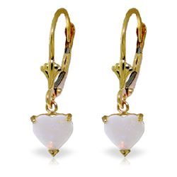 Genuine 1.30 ctw Opal Earrings Jewelry 14KT Yellow Gold - REF-30V2W
