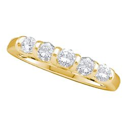 1 CTW Diamond 5-stone Wedding Anniversary Ring 14KT Yellow Gold - REF-127H4M