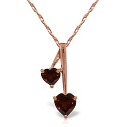 Genuine 1.40 ctw Garnet Necklace Jewelry 14KT Rose Gold - REF-23Y8F