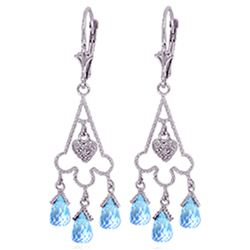 Genuine 4.83 ctw Blue Topaz & Diamond Earrings Jewelry 14KT White Gold - REF-52V7W