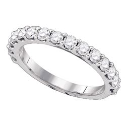 1 CTW Pave-set Diamond Single Row Wedding Ring 14KT White Gold - REF-75Y2X