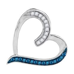 0.20 CTW Blue Color Diamond Heart Outline Pendant 10KT White Gold - REF-14F9N