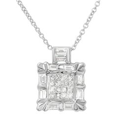 1 CTW Diamond Necklace 14K White Gold - REF-84Y3X